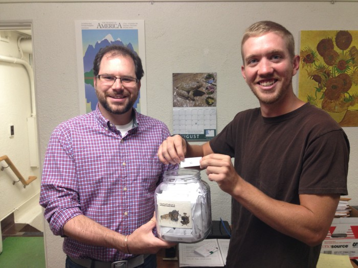 Our producers Micah and Ryan (L-R) draw the winner of our raffle.