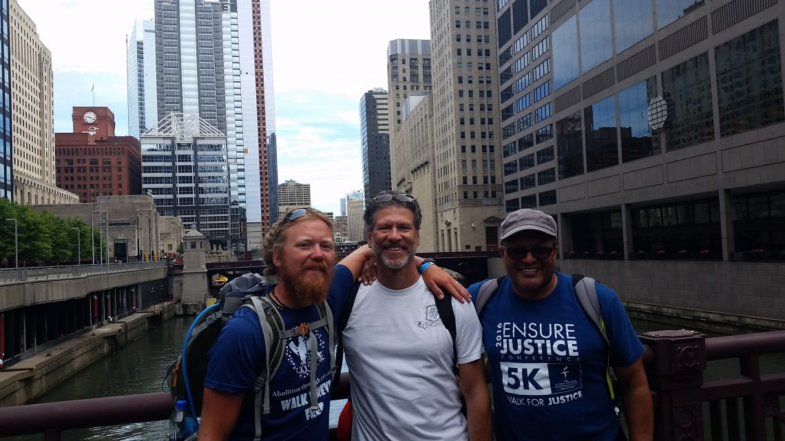 The day Barry arrived in Chicago with members of the Frederick Douglass Initiatives. (L-R) Barry, Robert Benz, and Kenneth Morris Jr.