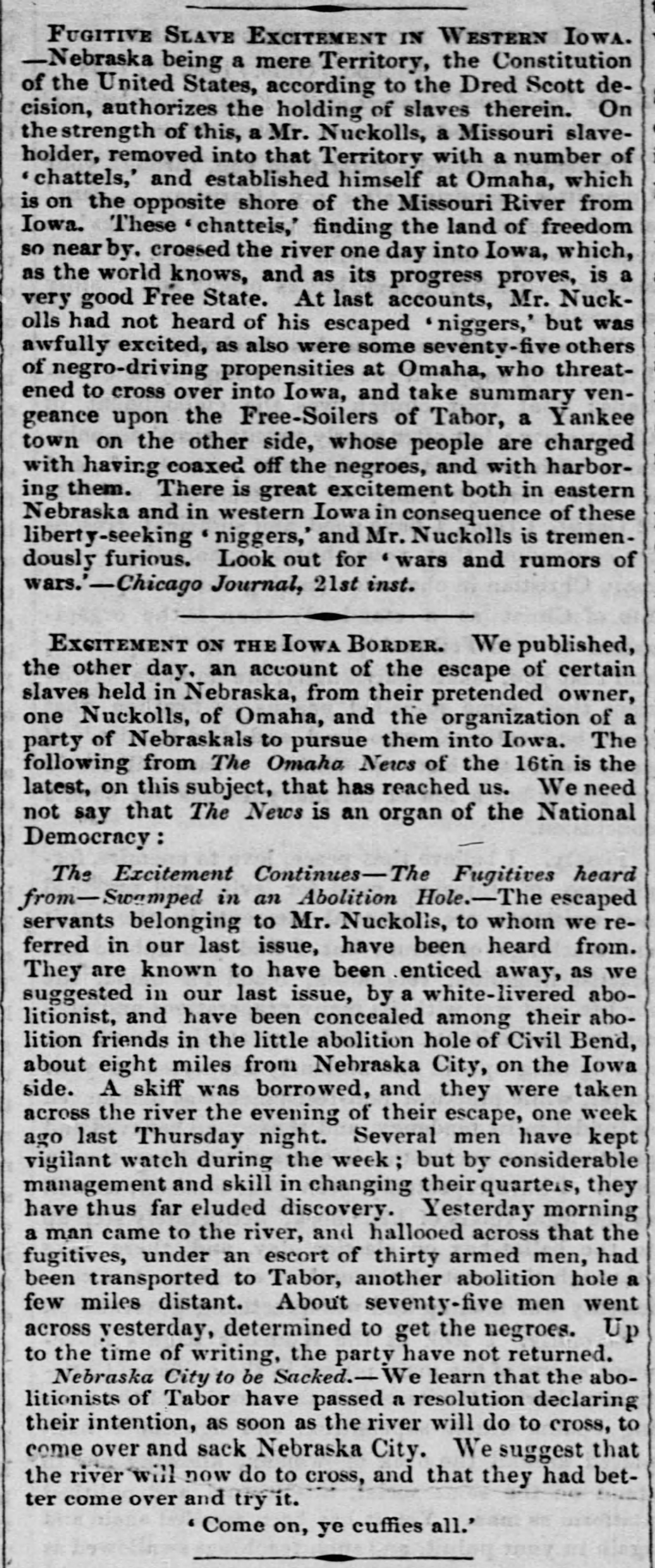 The Liberator describing the escape of Eliza and Celia in 1858.