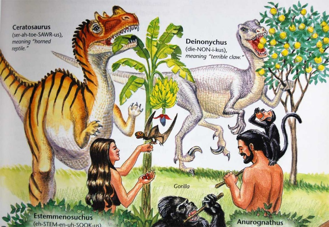 "A page from Ken Ham's ""Dinosaurs in Eden"""