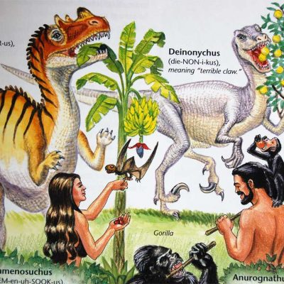 """A page from Ken Ham's """"Dinosaurs in Eden"""""""